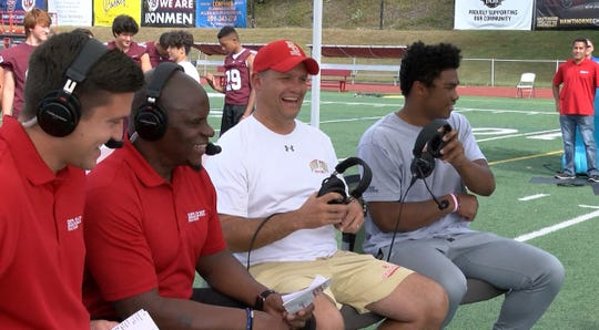 Bergen Catholic Coach Vito Campanile and Defensive Back Jordan Morant wrap up their appearance on the Red Zone Road Show with Ryan Ross (left) and Chris Melvin taped in Ramsey Tuesday, September 24, 2019.  They will face off against Don Bosco Friday night.