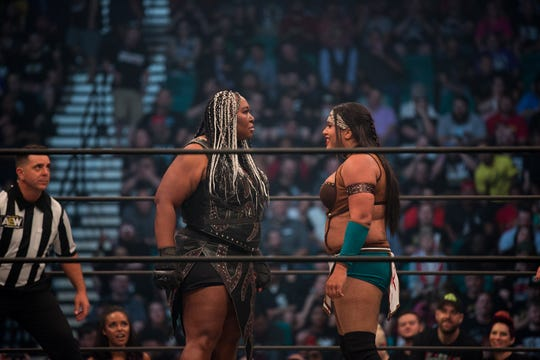 Awesome Kong, left, and Nyla Rose of All Elite Wrestling.