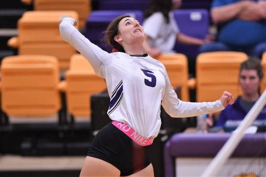 Wylie's Lilly Kate Doby (5) lines up a kill against Clyde on Tuesday. Even as a sophomore, Doby has been a leader for the Lady Bulldogs during her time on the court, including a top attacking threat.