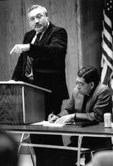 Dr. Dan Coker, professor of Latin American Studies at Abilene Christian University, speaks in 1986 at a forum focusing on Central American issues.