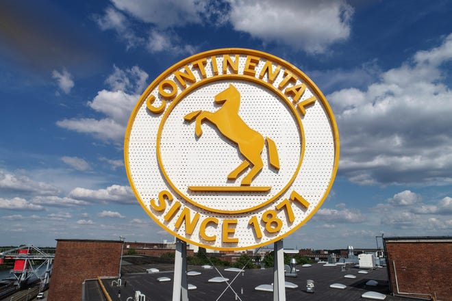 A logo for Continental, a German-based automotive supplier, from its plant in Hanover, Germany. The company announced a restructuring program Sept. 25 that will impact its Fletcher plant, which employs 650 workers.