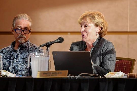Councilwoman Gwen Wisler speaks during an Asheville City Council meeting September 24, 2019.