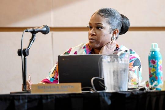 Councilwoman Sheneika Smith listens during an Asheville City Council meeting September 24, 2019.