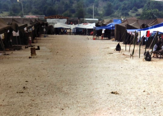 This 1999 photo shows the refugee camp in Tataloo, Macedonia, where the Balabani family stayed for nearly four months before arriving in Sterling Heights, Michigan.