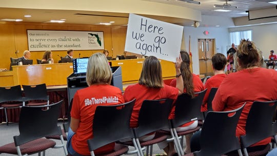 In a scene reminiscent of last year's demonstrations, teachers rallied at the school board meeting Tuesday night to vent their frustration in the wake of stalled pay talks, which are set to resume next week.