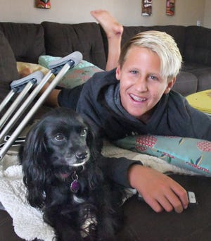 13-year-old Logan Radd of Satellite Beach is a competitive surfer who was bitten on the heel and ankle on Tuesday evening as he was finishing a full day of surfing. As soon as he heals, he plans to return to the waves. Meanwhile, the family dog, Olive, also called Witty, stays by his side.