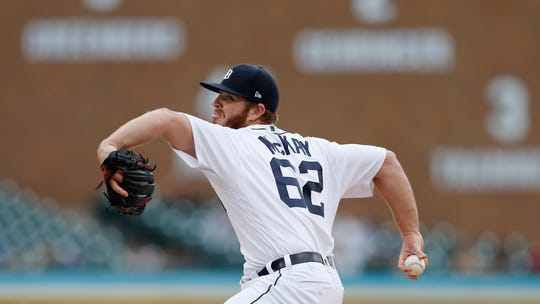 Detroit Tigers relief pitcher David McKay, a former Viera High pitcher, throws during the ninth inning of a game, Sunday, Sept. 1, 2019, in Detroit.