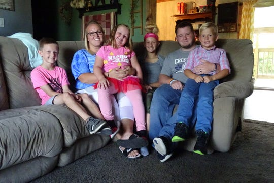 The Lavene family includes, from left, Billy, Jess, Karter, Addisyn, B and Dylan.