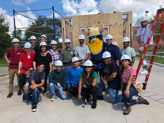 Students in Del Mar College's 10-week Carpentry Training Program pose for a photo during a skills showcase on Wednesday, Sept. 25, 2019. Students in the second session of the program, which is funded by a grant for Hurricane Harvey recovery, graduate Thursday.