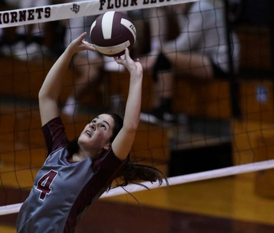 Flour Bluff's Cali Nims sets the ball at the game against Flour Bluff, Tuesday, Sept. 24, 2019, at Flour Bluff High School. Nims is a junior.