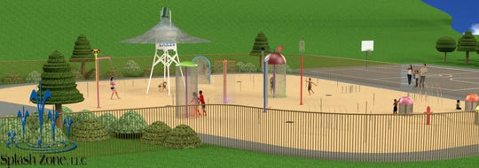 An artist rendering shows what the proposed splash pad may look like if local groups raise enough funds.