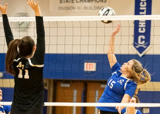 Chillicothe's Maleah Oney hits the ball over the net during a 3-0 win over Miami Trace on Tuesday night at Chillicothe High School with the Cavaliers now in sole possession of the FAC lead.