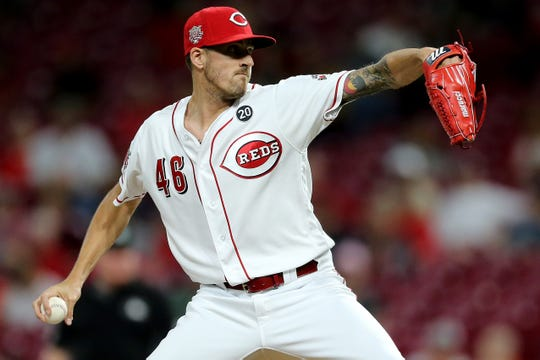 Cincinnati Reds starting pitcher Kevin Gausman (46) in the ninth inning of an MLB baseball game against the Milwaukee Brewers, Tuesday, Sept. 24, 2019, at Great American Ball Park in Cincinnati.