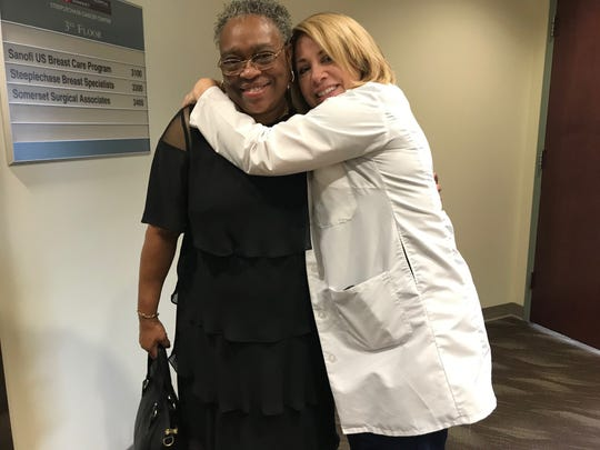 A registered nurse for 32 years, Kimberly Cromwell-Piniella (right) serves as the Breast CancerPatient Navigator at the Steeplechase Cancer Center at Robert Wood Johnson University Hospital Somerset in Somerville. For the past five years, Cromwell-Piniella has been aliteral GPS for men and women diagnosedwith breast cancer, such as Kressie Smith (left) of Somerset, as they wind their way through daily life — a myriad of appointments, treatments, therapies, surgeries andemotions.