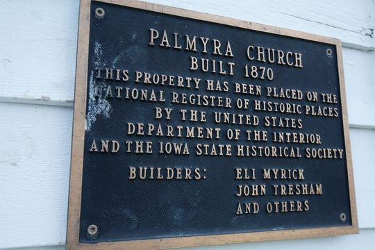 A plaque on the front of the building acknowledges the Palmyra Church's place on the National Register of Historic Places. Efforts are being made to raise money to maintain the historic Palmyra Church. In 2016 a new roof was put on the structure, which dates to 1870, but more work is needed.