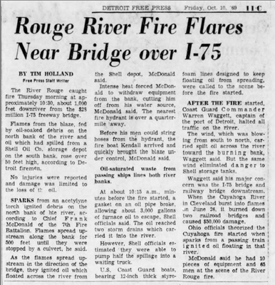 1969 : Rouge River Flames Reach 50 Feet in Height