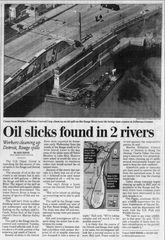 A Free Press article that ran April 11, 2002, a day after mysterious oil spills occurred in the Rouge and Detroit Rivers.