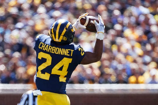 Michigan running back Zach Charbonnet makes a catch in the first half against Army at Michigan Stadium, Sept. 7, 2019.