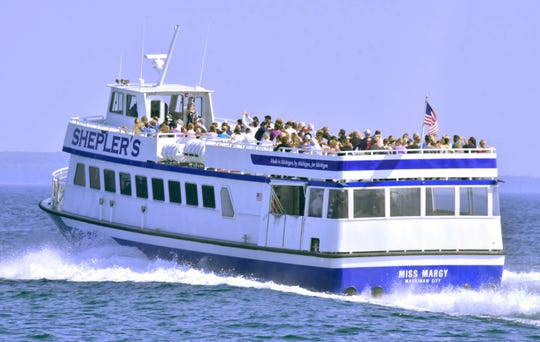 The Miss Margy, the newest vessel in the Shepler Mackinac Island Ferry fleet, leaves the Mackinaw City dock on Sept. 21.