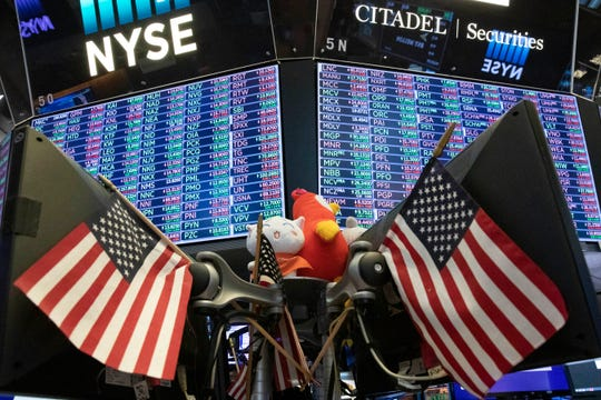 Stock prices are displayed at the New York Stock Exchange, Wednesday, Sept. 18, 2019.
