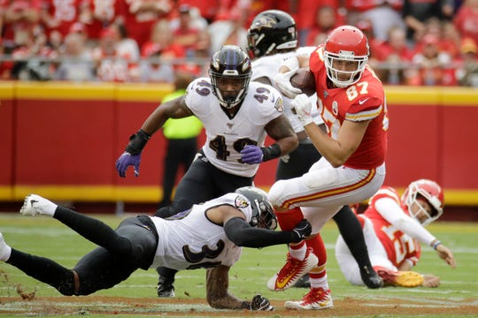 Kansas City Chiefs tight end Travis Kelce (87) has 17 catches for 284 yards through three games this season.