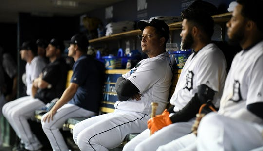 Tigers' Miguel Cabrera looks towards the scoreboard in the ninth inning.