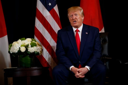 President Donald Trump speaks during a meeting with Japanese Prime Minister Shinzo Abe at the InterContinental Barclay New York hotel during the United Nations General Assembly, Wednesday, Sept. 25, 2019, in New York.