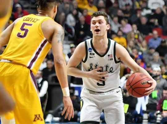Michigan State's Foster Loyer (3) could be part of a crowded point guard position next season.