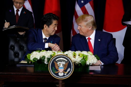 President Donald Trump meets with Japanese Prime Minister Shinzo Abe at the InterContinental Barclay New York hotel during the United Nations General Assembly, Wednesday, Sept. 25, 2019.