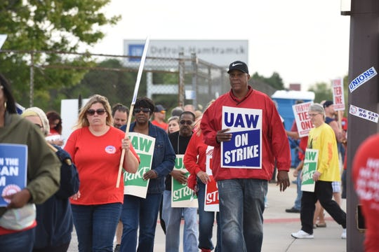 UAW members walk the picket line at the Detroit Hamtramck Assembly on Wednesday.