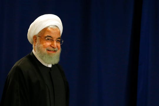 Iran's President Hassan Rouhani arrives for a meeting with United Nations Secretary-General Antonio Guterres during the 74th session of the U.N. General Assembly, at U.N. headquarters, Wednesday, Sept. 25, 2019.
