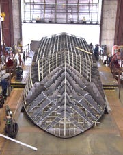 The hull structure of the 84-foot William Richard takes form at the Moran Iron Works in Onaway, Michigan.