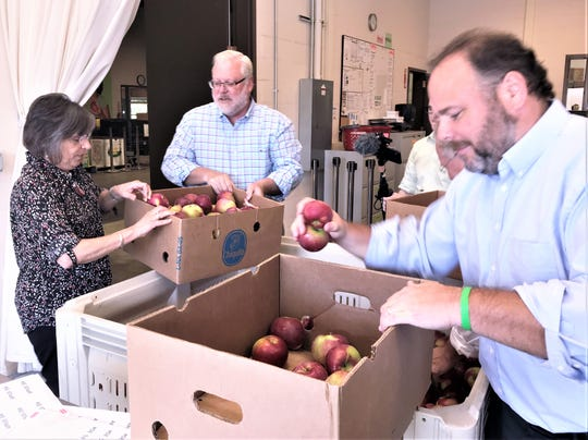 State Assemblyman Phil Palmesano, R-Corning, right, Assemblywoman Donna Lupardo, D-Endwell, and state Sen. Tom O'Mara, R-Big Flats, pack apples Wednesday at the Food Bank of the Southern Tier headquarters in Elmira Heights following a visit by the state's agriculture commissioner.