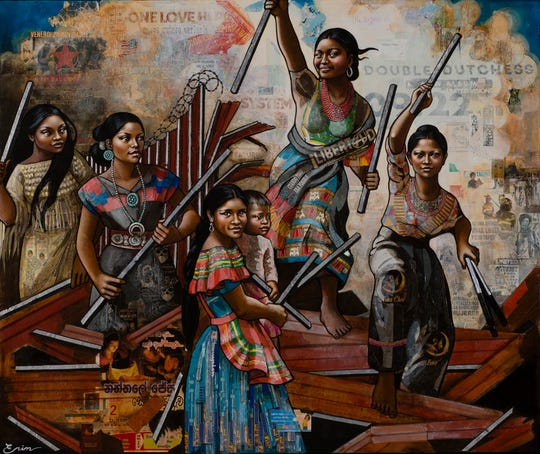 """""""American Women (Dismantling the Border) III (after Delacroix),"""" by Erin Currier, is among the TiA Collection."""