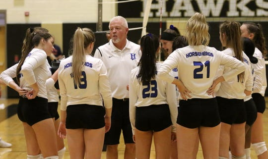 Horseheads head coach Tim Crout talks to his players in a 3-2 win over Corning in volleyball Sept. 24, 2019 at Corning-Painted Post High School.