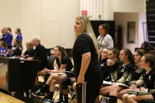 Corning volleyball coach Amber Freelove guides her team in a 3-2 loss to Horseheads on Sept. 24, 2019 at Corning-Painted Post High School.