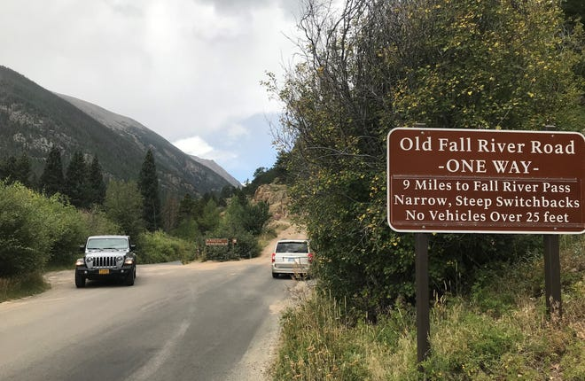 Old Fall River Road sign in Rocky Mountain National Park.