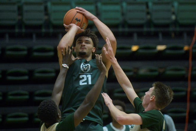 Colorado State men's basketball player David Roddy shoots during practice at Moby Arena on Tuesday, Sept. 24, 2019.