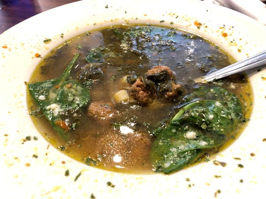 The Italian wedding soup from Tony's NY Pizzeria ($4.95) features tender meatballs and fresh spinach in a lush broth.