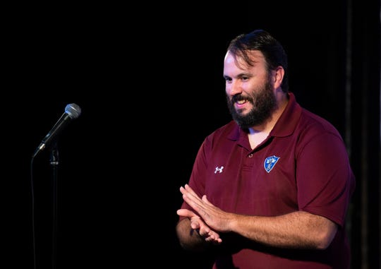 Army veteran Pat Campbell during The Greenville News Storytellers event at the Comedy Zone Tuesday, Sept. 24, 2019.