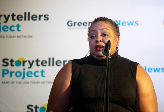 Army veteran Roslyn Meadows shares a story during The Greenville News Storytellers event at the Comedy Zone Tuesday, Sept. 24, 2019.