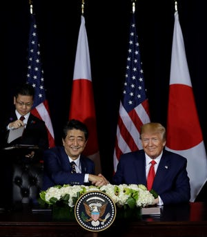 President Donald Trump meets Wednesday with Japanese Prime Minister Shinzo Abe at the InterContinental Barclay during the United Nations General Assembly in New York.
