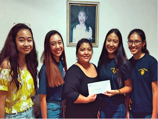 The Academy of Our Lady of Guam student council donated $300 to Erica's House in the name of the religious sisters of mercy on Sept. 21. To commemorate Mercy Day, AOLG student council chose to bring awareness to one of the critical concerns of the sisters of mercy: nonviolence. Student council officers Brianna Cabrera, Jasmine Pangelinan, Angelica Gomez, and Andrea Cruz, along with council advisor Lourdes Babauta, met with Jholyn Parducho to present the check. The donation helps to uphold the organization that seeks to cultivate safety within families. Erica's House is a nonprofit organization that provides support services for children and parents affected by violence.
