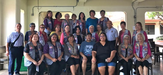 The Guam Sunshine Lions Club presented a monetary donation to help defray medical treatment expenses, to Franklin Taijito, 45, of Agat, on Sept. 21 at the Chamorro Village.  Seated from left:  Lorraine Rivera, L. Mary Taitano, Franklin Taijito, Winnie Taijito, L. Jovie Mejorada, and L. Lola Flores. Second row from left: Lions Johnny Villagomez, Josephine Borja, Jill Pangelinan, Rose Gumataotao, Marie Salas, Connie Rivera, Helen Colby, Dot Leon Guerrero, Pete Babauta, Marietta Camacho, and Julie Cruz. Back row: Lions Clarice Quichocho, Mary Castro, Helen Mendiola, Sid Weedin, Linda Villagomez, Sita Crisostomo and Dee Cruz.
