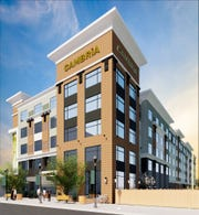 A rendering of the planned Cambria hotel in Downtown Indianapolis.