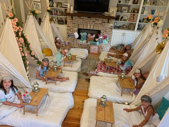 The birthday party of Addison Sloan of Brandon provided a reason to go glamping with teepees set up indoors.