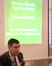 Commissioner Andy Gipson of the Department of Agriculture and Commerce opens a Hemp Cultivation Task Force meeting at the state capitol in Jackson Wednesday, Sept. 25, 2019. The meeting was held to discuss both the viability and economic prospects for hemp crop cultivation in Mississippi.