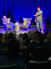Country music superstar Garth Brooks (left) talks to Mississippi music students Tuesday, Sept. 24, 2019 at the GRAMMY Museum Mississippi in Cleveland. GRAMMY Museum Executive Director Bob Santelli (left) interviewed Brooks as  part of a program for students.