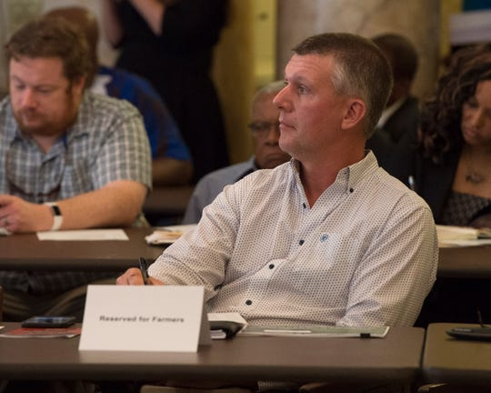 Freddie Rowell, a farmer from Pelahatchie, looks on at a presentation during a meeting of the Hemp Cultivation Task Force. The meeting was held at the state capitol in Jackson Wednesday, Sept. 25, 2019 to discuss both the viability and economic prospects for hemp crop cultivation in Mississippi.