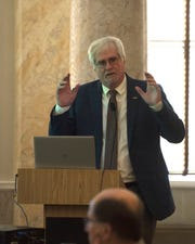 Larry Walker from the University of Mississippi speaks at a meeting of the Hemp Cultivation Task Force, which was held at the state capitol in Jackson Wednesday, Sept. 25, 2019. The task force discussed both the viability and economic prospects for hemp crop cultivation in Mississippi.